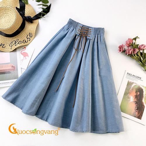 Chân váy denim lưng cao xanh nhạt chân váy jean lưng thun GLV147