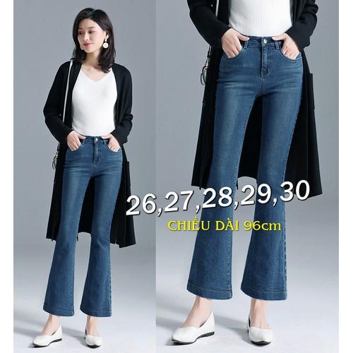 Quần jean lưng cao 1 nút wash nhẹ ống loe tua rách