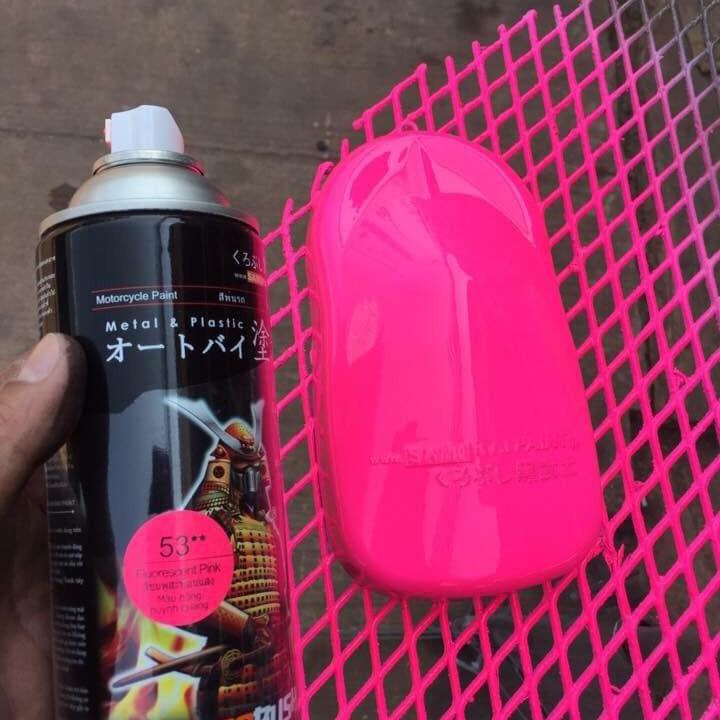 53 _ Chai sơn xịt sơn xe máy Samurai 53** màu hồng huỳnh quang  _ Fluorescent Pink   sơn mâm xe máy và nhựa 9