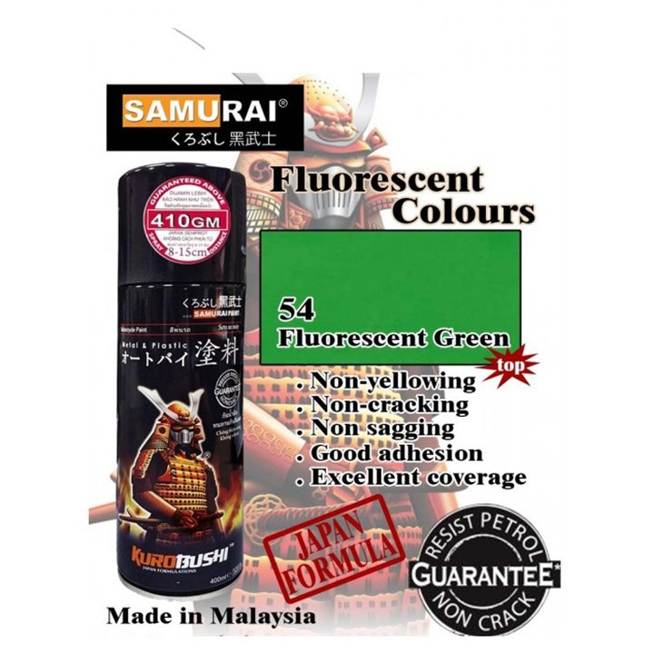 54 _ Sơn xit Samurai 54** màu xanh lá huỳnh quang  _ Fluorescent Green   sơn mâm xe máy và nhựa_ Tốt, giá rẻ, ship nhanh 2