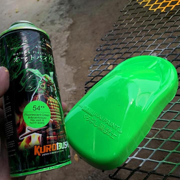 54 _ Sơn xit Samurai 54** màu xanh lá huỳnh quang  _ Fluorescent Green   sơn mâm xe máy và nhựa_ Tốt, giá rẻ, ship nhanh 3