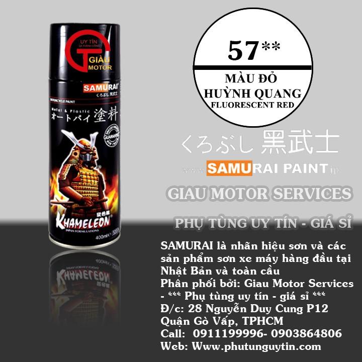 57 _ Chai sơn xịt sơn xe máy Samurai 57** màu ĐỎ huỳnh quang  _ Fluorescent RED   sơn mâm xe máy và nhựa 1