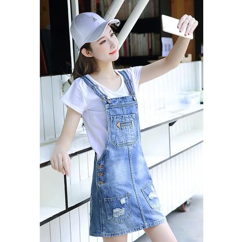 Đầm yếm jeans túi rách classic Mã: DA5178
