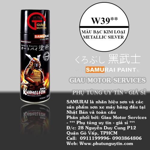 W39 _Sơn xit Samurai w39 màu bạc kim loại sơn mâm_ Metallic Silver  Tốt, giá rẻ, giao nhanh