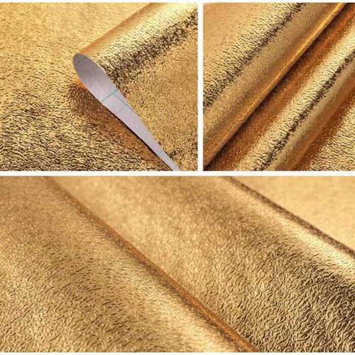 5m decal vàng tráng nhôm dán bàn- kệ-bếp chống thấm chịu nhiệt tốt -khổ 60cm-sẵn keo