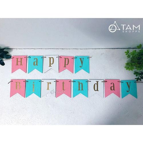 Dây chữ Happy Birthday vẽ tay trên gỗ số 30