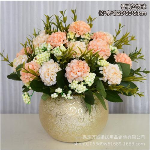 Hoa giả-Chùm hoa cẩm tú cầu màu Champagne phong cách Châu Âu trang trí