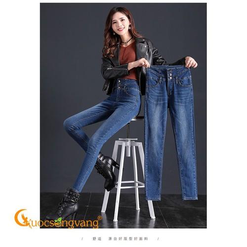 Quần jean nữ lưng cao màu xanh đậm quần jean dáng ôm co giãn GLQ112