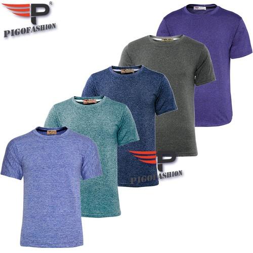 Bộ 5 áo thun tập gym nam body cổ tròn PigoFashion GM02BO5.1, giao màu ngẫu nhiên
