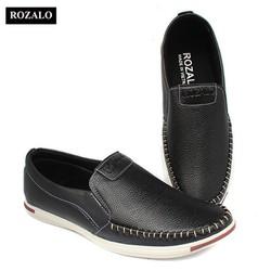 Giày lười da khâu siêu bền thời trang nam Rozalo R5732-Màu Đen