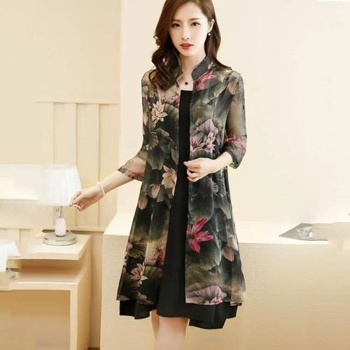 Aó khoác dài - áo CARDIGAN - áo kiểu nữ mùa hè 2019 chất voan dài tay họa tiết hoa sen  YT.01527