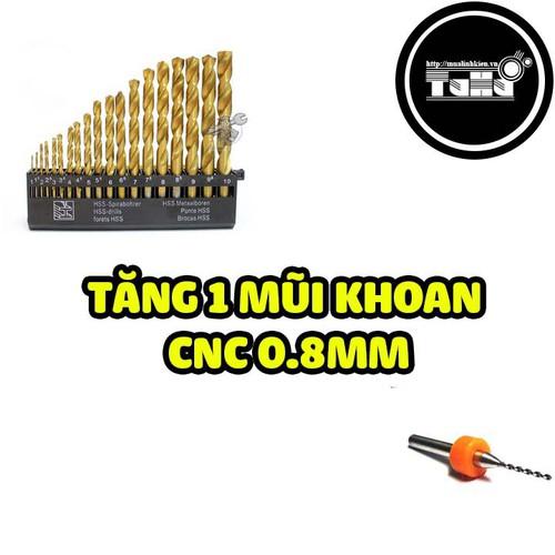 Tặng 1 Mũi Khoan CNC 0.8 Khi Mua Bộ Mũi Khoan HSS 19 Mũi Vàng Từ 1mm-10mm Giá Rẻ