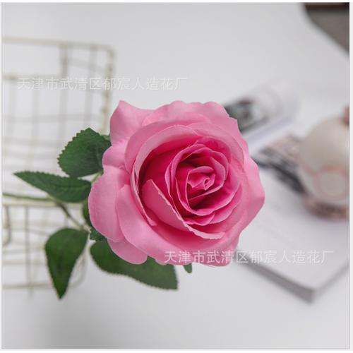 Hoa giả-Cành Hoa hồng Đơn màu Hồng