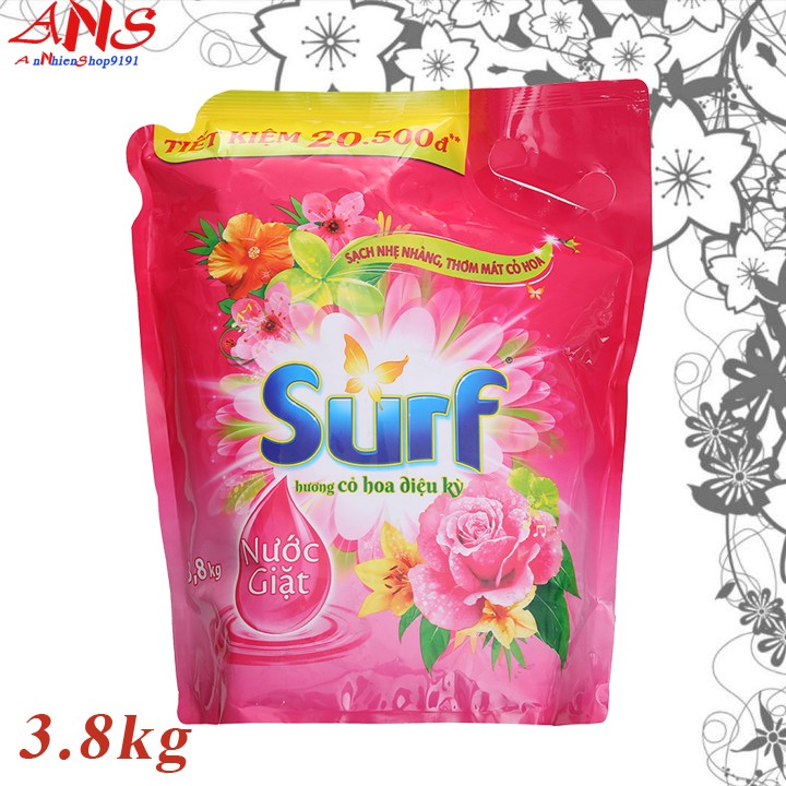Nước giặt Surf túi 3.8kg cho quần áo thơm mát cả ngày