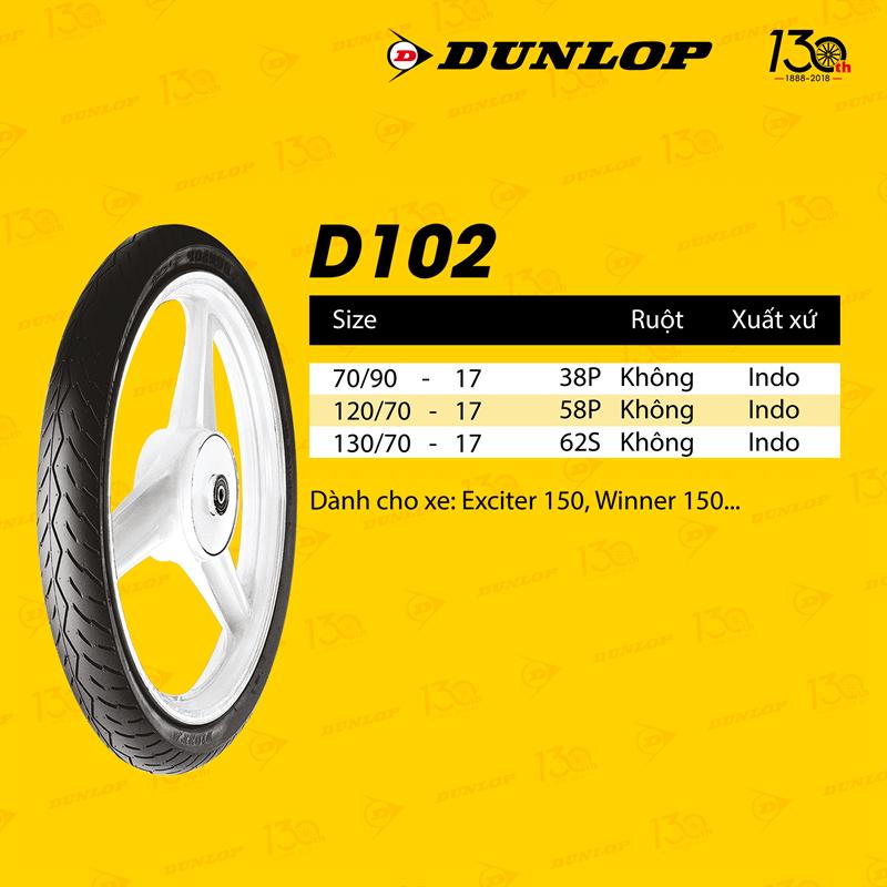 Lốp xe Dunlop  70.90-17 Vỏ xe máy Dunlop size 70.90-17 D102 TL 38P_Trùm Dunlop Việt Nam, giá rẻ, uy tín, chất lượng 1
