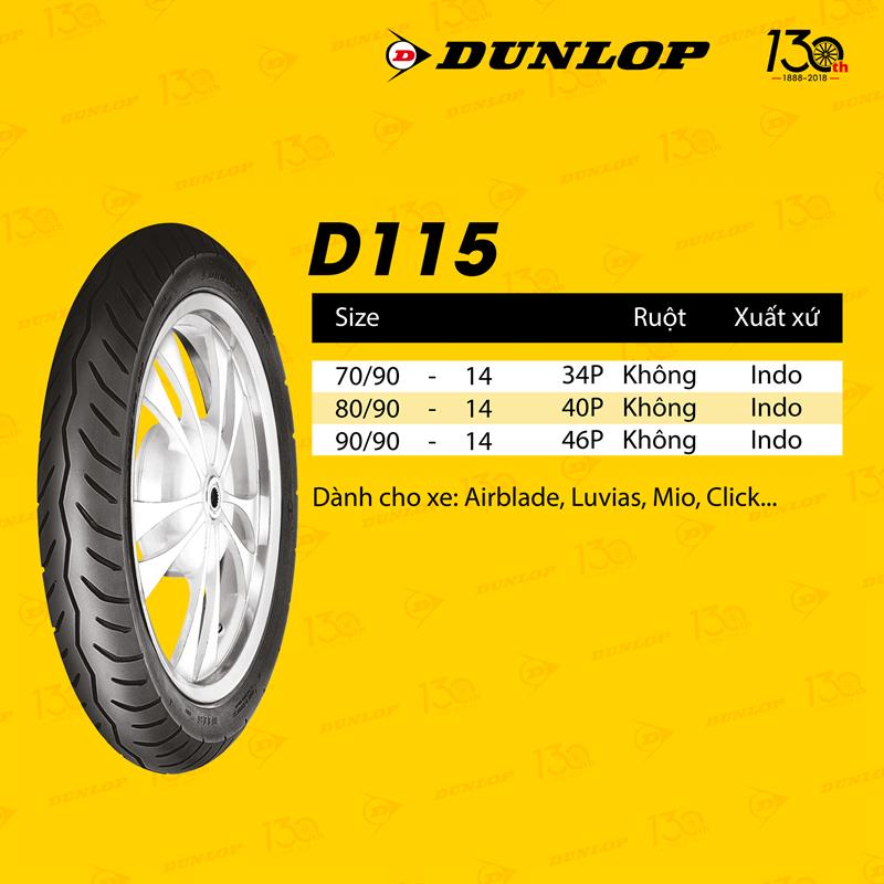 Lốp xe Dunlop 80-90-14 D115 TL Vỏ xe máy Dunlop size 80.90-14 D115 TL 40P Trùm Dunlop Việt Nam, giá rẻ, uy tín 1