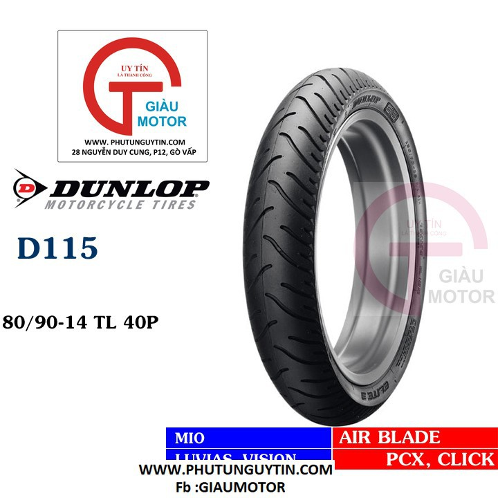 Lốp xe Dunlop 80-90-14 D115 TL Vỏ xe máy Dunlop size 80.90-14 D115 TL 40P Trùm Dunlop Việt Nam, giá rẻ, uy tín 7