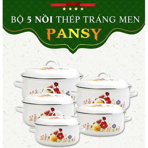 Bộ 5 Nồi Tráng Men Ceramic Cao Cấp Pansy