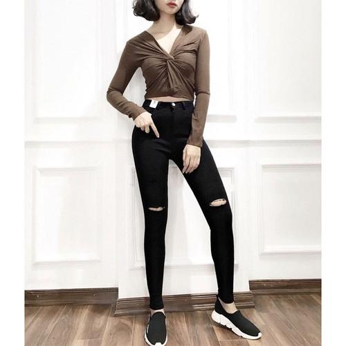 Quần jean đen rách 2 đường vải mềm co giãn