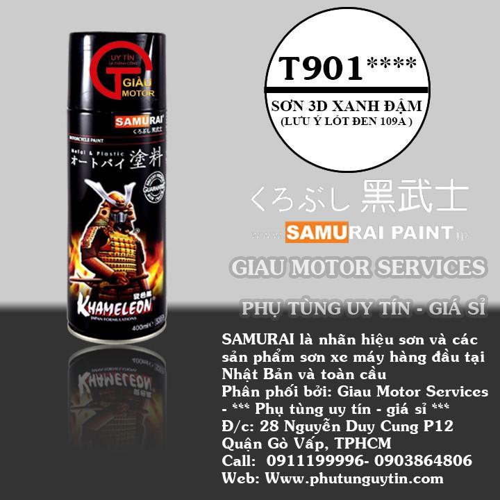 T901 _ sơn xịt Samurai paint K6 - T901 màu 3D xanh ánh tím  đổi màu theo góc nhìn, uy tín, giá rẻ, giao nhanh 1