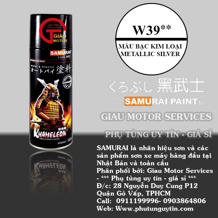 W39 _Sơn xit Samurai w39 màu bạc kim loại sơn mâm_ Metallic Silver  Tốt, giá rẻ, giao nhanh 1