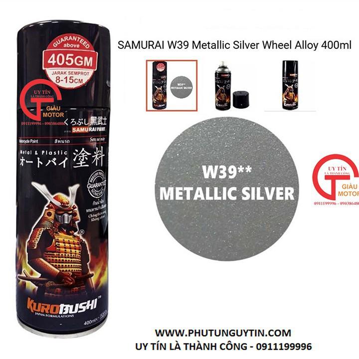W39 _Sơn xit Samurai w39 màu bạc kim loại sơn mâm_ Metallic Silver  Tốt, giá rẻ, giao nhanh 3
