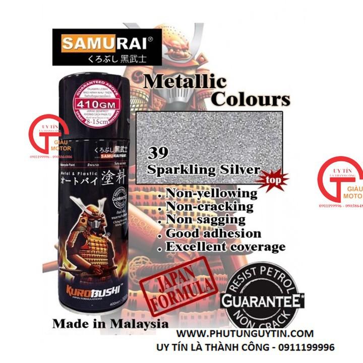 W39 _Sơn xit Samurai w39 màu bạc kim loại sơn mâm_ Metallic Silver  Tốt, giá rẻ, giao nhanh 2