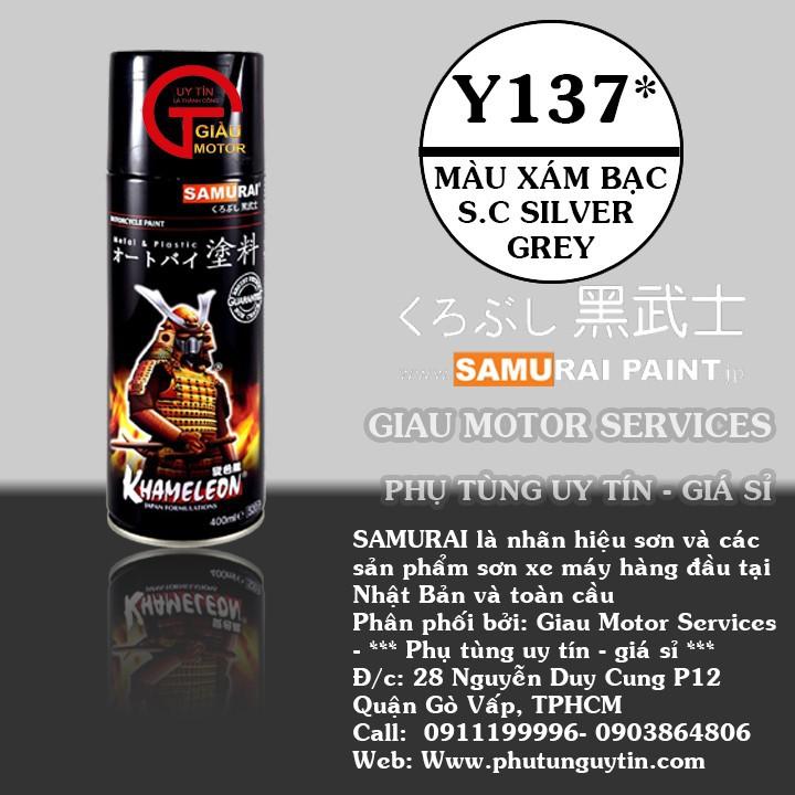 Y137 _ Chai sơn xịt sơn xe máy Samurai Y137 - màu xám bạc lốc máy s.c silver Grey  uy tín, giao h1àng nhanh, giá rẻ 1