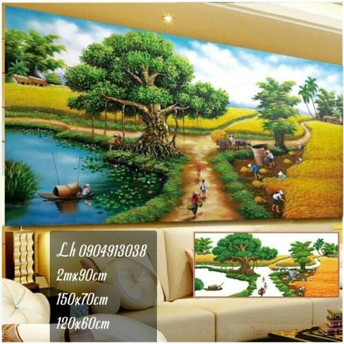 tranh đính đá phong cảnh làng quê tuyệt đẹp 2m-90cm