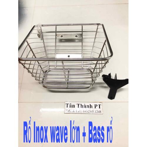 Rổ Inox 10li & Pát rổ 3 lỗ cho Wave lớn-RS