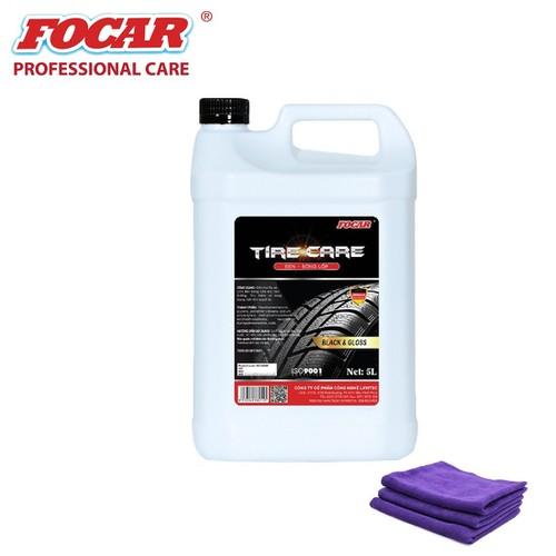 Dung dịch dưỡng đen bóng lốp ô tô Focar Tire Care 5L + 3 khăn lau 32x36cm
