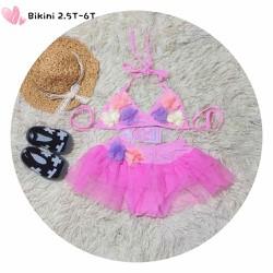 Bikini 2 mảnh đính hoa bé gái 2 đến 6 tuổi