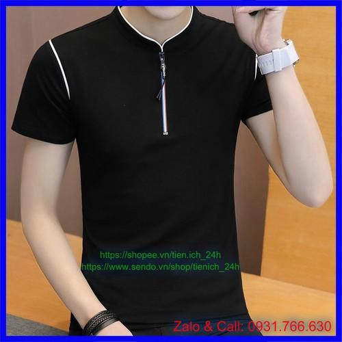 Áo phông cotton cổ tàu trơn