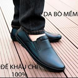 [CÓ VIEO TES LỬA ]Giày lười nam giày mọi nam da bò [ĐẾ KHÂU BẢO HÀNH 12 THÁNG KÈM THẺ]