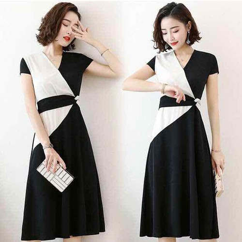 váy chéo vạy phối đen trắng bigsize