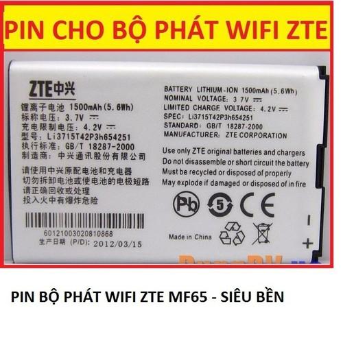 Pin Cho thiết bị phát wifi 3G 4G ZTE MF65 - pin MF65 - pin khủng