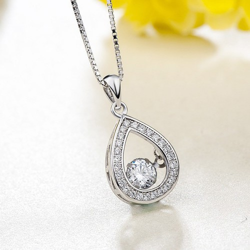Dây Chuyền Silver Ý S925 Bảo Ngọc Jewelry Hình Giọt Nước Lấp Lánh M-1442