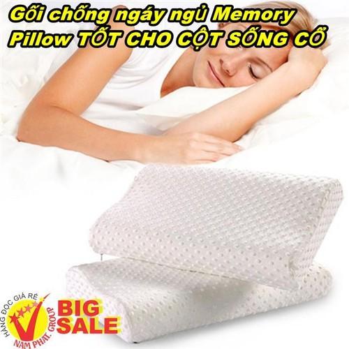 Gối chống ngáy ngủ Memory Pillow TỐT CHO CỘT SỐNG