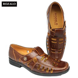 Giày nam đục lỗ da bò quai dán Rozalo R3203