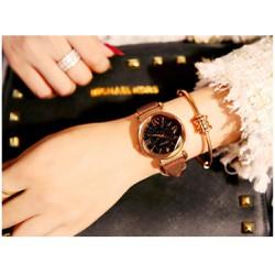 Đồng hồ nữ dây da mặt vát 3D phủ Sapphire GoGoey siêu hot