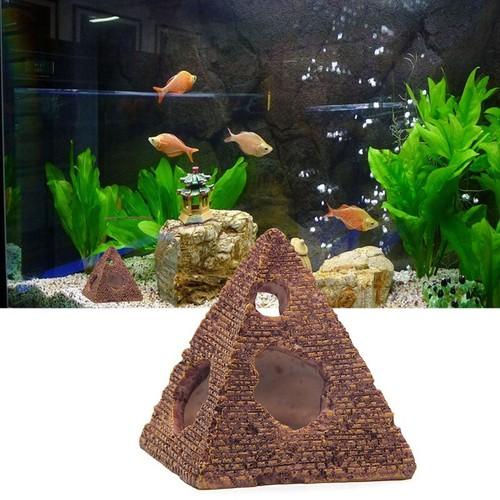 Tiểu cảnh kim tự tháp trang trí cho hồ cá, hồ thủy sinh kích thước  size TRUNG kích thước S9.2x9x10.2cm