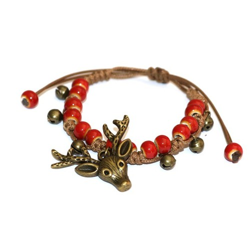 Vòng đeo tay sừng hươu nữ phong cách vintage phối hạt gốm thủ công màu đỏ