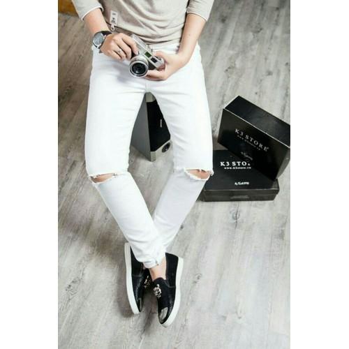quần jaens nam trắng rách gối