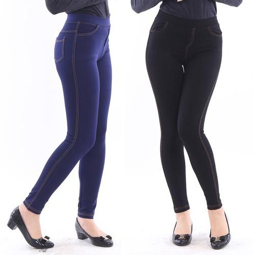 [Miễn ship toàn quốc] quần legging giả jean loại 1 cạp chun 4 túi dày dặn đẹp