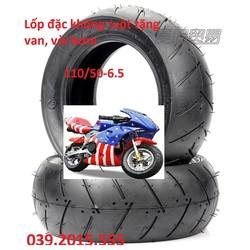 Vỏ đặc không ruột xe moto mini, tặng chân van, vòi bơm, Lốp 110 50-6.5