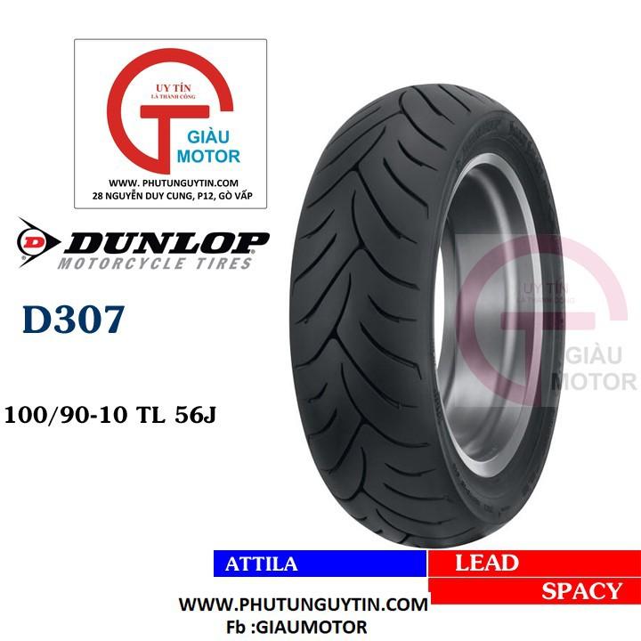Lốp Dunlop 100.90-10 D307 -  Vỏ xe máy Dunlop size 100-90-10 D307 TL 56J Trùm Dunlop Việt Nam, giá rẻ, uy tín 1