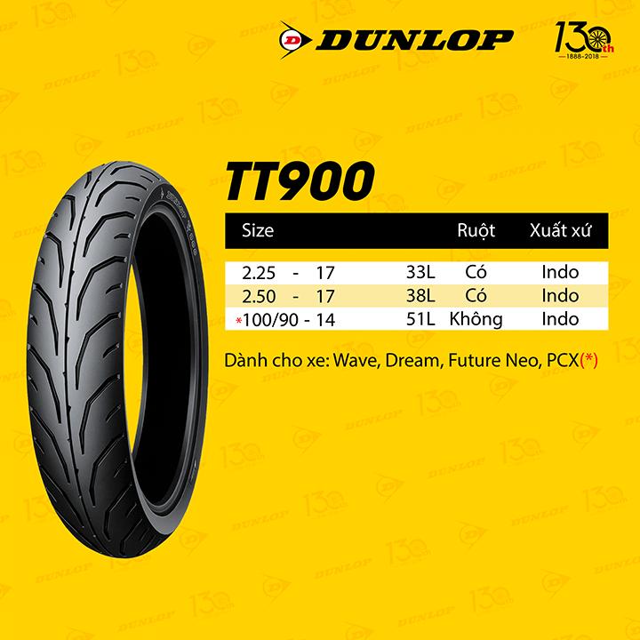 Lốp Dunlop 100.90-14 TT900 TL 51L Vỏ xe máy Dunlop size 100.90-14 TT900 TL 51L _ Dunlop Việt Nam, giá rẻ, uy tín 2