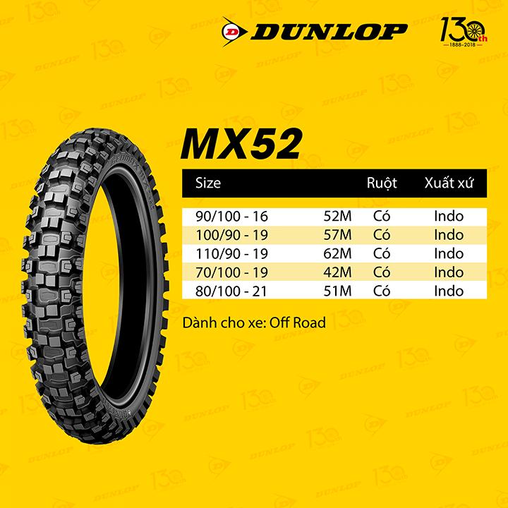 Lốp Dunlop 100.90-19 MX52 TT 57M Vỏ xe máy Dunlop size 100-90-19 MX52 TT 57M _ Dunlop Việt Nam, giá rẻ, uy tín 2
