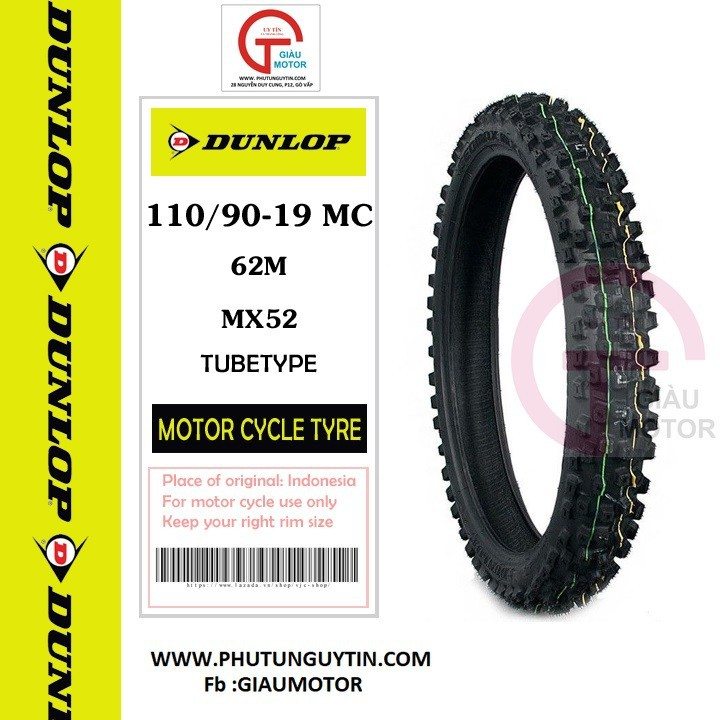 Lốp Dunlop 110.90-19 MX52 TT 62MVỏ xe máy Dunlop size 110-90-19 MX52 TT 62M _ Dunlop Việt Nam, giá rẻ, uy tín 4