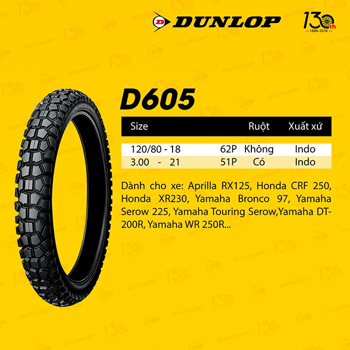 Lốp Dunlop 120.80-18  D605 TL 62P Vỏ xe máy Dunlop size 120-80-18  D605 TL 62P_ Dunlop Việt Nam, giá rẻ, uy tín 6